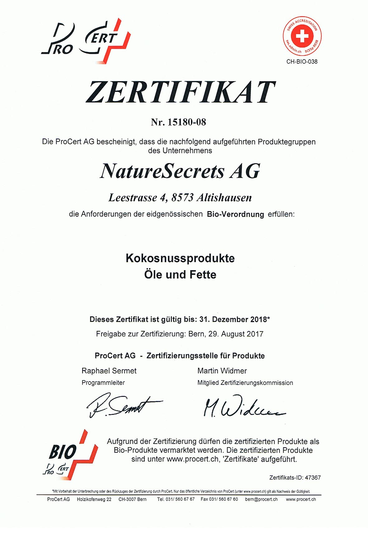 Bio-Zertifikat - Naturesecrets AG, Kaltgepresstes
